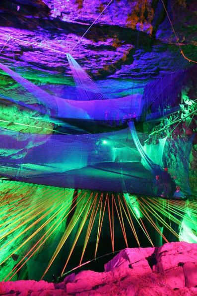 Bounce Below: A Giant Network of Trampolines Suspended in an Abandoned Welsh Slate Mine trampolines playgrounds caves.
