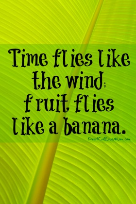 Time flies like the wind; fruit flies like a banana. DearKidLoveMom.com Weird banana facts