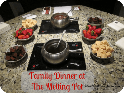 Fabulous 9 b'zillion calorie meal at The Melting Pot DearKidLoveMom.com