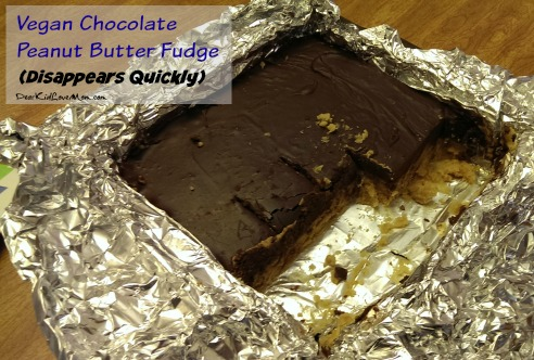 Vegan Chocolate Peanut Butter Fudge. Delicious. Does not last long! DearKidLoveMom.com