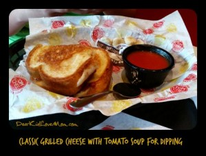 Classic Grilled Cheese with tomato soup for dipping at Tom + Chee. DearKidLoveMom.com