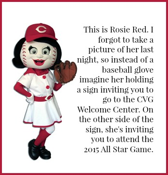 Rosie Red inviting you to the Welcome Center at CVG. And to the 2015 All Star Game. DearKidLoveMom.com