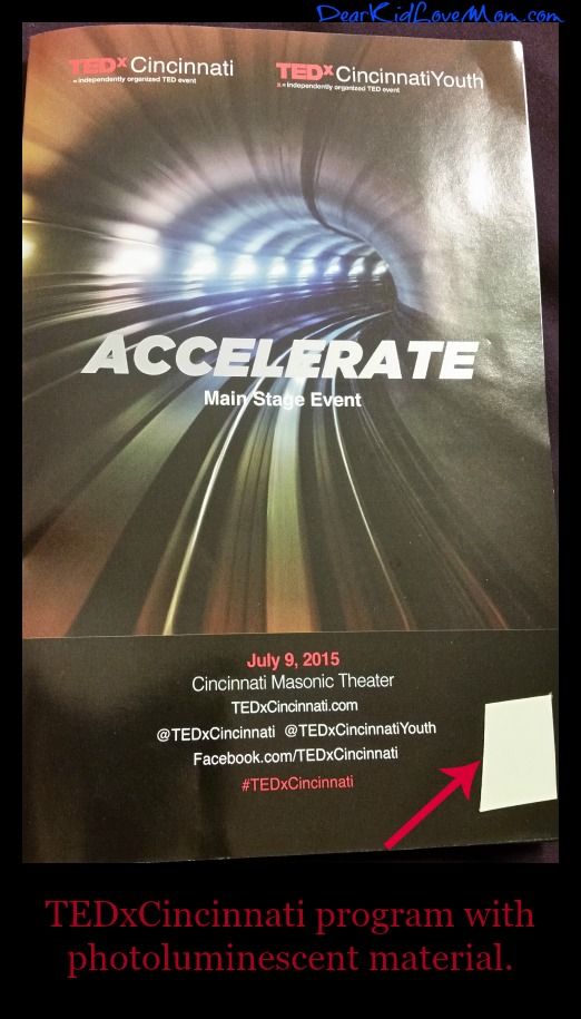 TEDxCincinnati 2015 program with photoluminescent material by Zachary Green and MN8 Foxfire. DearKidLoveMom.com