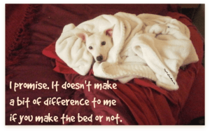 I promise. It doesn't make a bit of difference to me if you make the bed or not. I'm comfy. DearKidLoveMom.com
