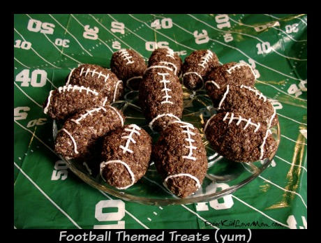 Football Themed Treats (yum!). DearKidLoveMom.com