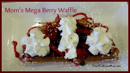 I had the Mega-Berry Waffle. YUM! at Waffles Incaffeinated. DearKidLoveMom.com