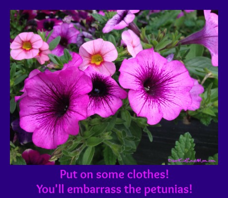 Put some clothes on! You'll embarrass the petunias! DearKidLoveMom.com