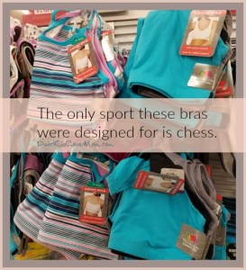 """First, I found a bunch of pieces of fabric labeled as sports bras. Clearly, the only sport they are intended to be used for is chess. There was nothing either """"sports"""" or """"bra"""" about them. DearKidLoveMom.com"""