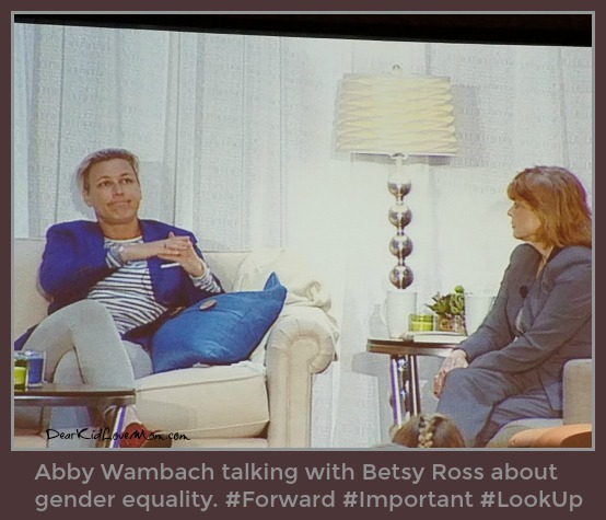 Abby Wambach talking with Betsy Ross about gender equality. #Forward #Important #LookUp DearKidLoveMom.com
