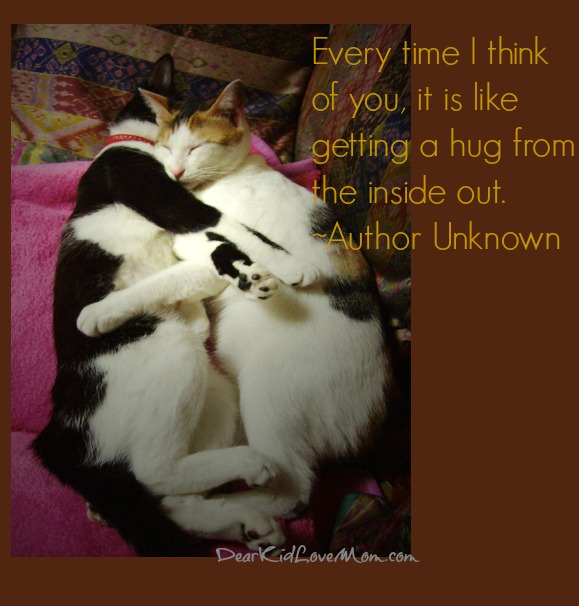 Every time I think of you, it is like getting a hug from the inside out. ~Author Unknown DearKidLoveMom.com