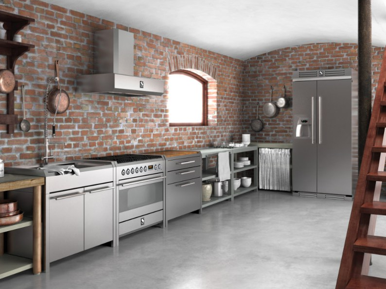 Stainless-Steel-Kitchen-with-Brick-Wall