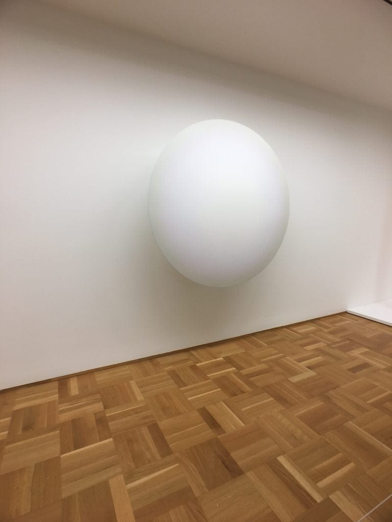 floating egg exhibit at the Museum of Contemporary Art