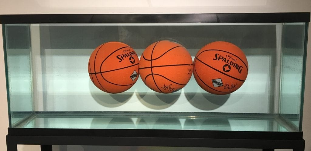 Floating basketballs exhibit at the Museum of Contemporary Art