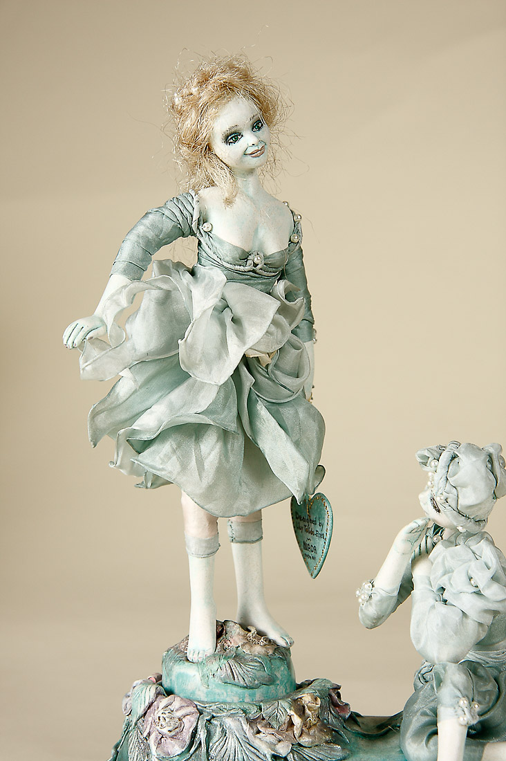 Sea Foam Dancers Musical Paperclay Art Doll By Lilian