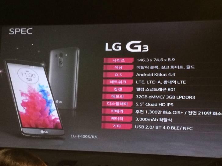 Especificaciones filtradas LG G3