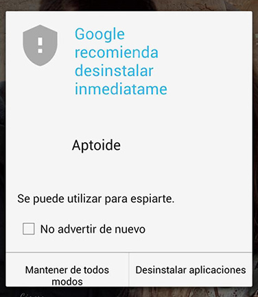Aptoide warning