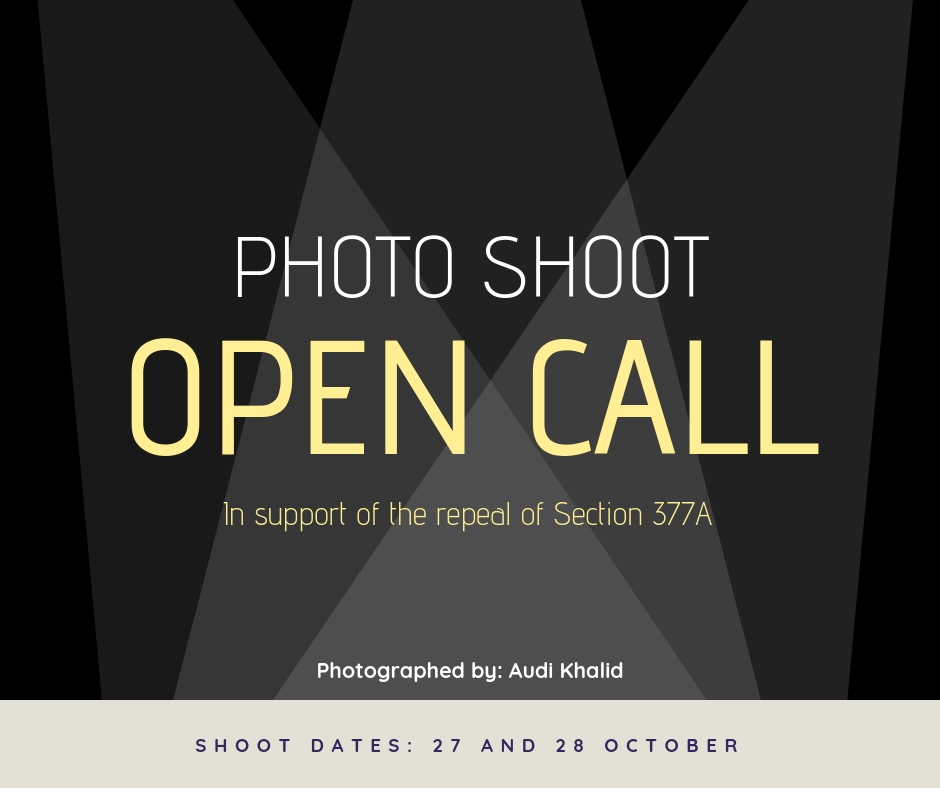 Share Your Story: Open Call For Photo Shoot To Support Repeal Of Section 377A