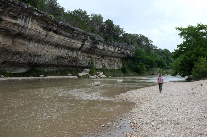 Bluff and stoney beach along the Guadalupe River
