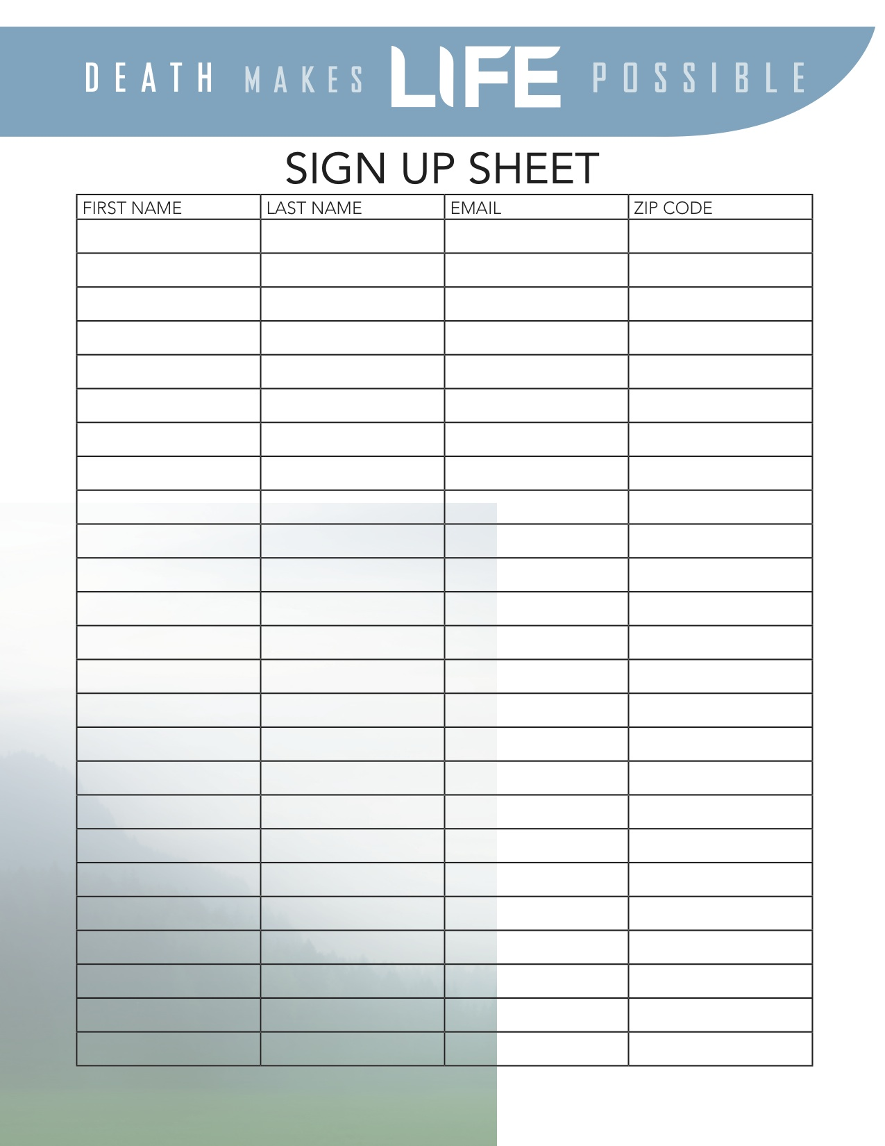 sign in sheet name email phone number