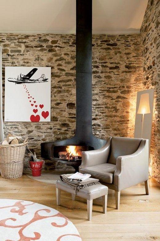 natursteinwand im wohnzimmer der naturliche charme von echtem, Mobel ideea