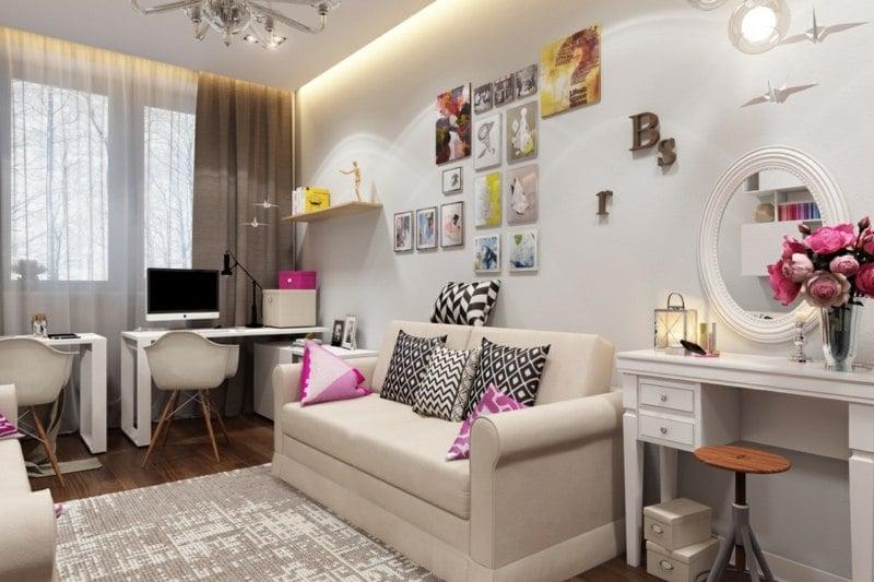 Madchen Jugendzimmer Sofa Schreibtisch Schminktisch Weiss