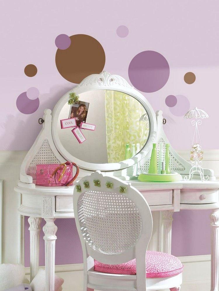 Teenager Zimmer Ideen Madchen Flieder Wandfarbe Scfhminktisch Kreise