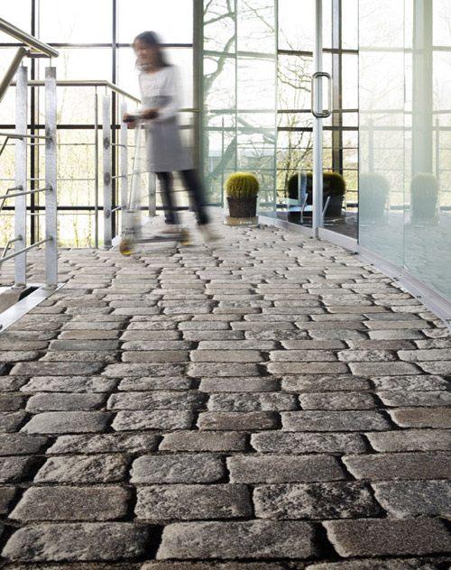 Modernes Teppich Design bedruckt mit rustikalen Motiven