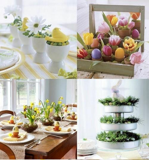 Schne und einfache Frhling Tischdeko Ideen mit Blumen