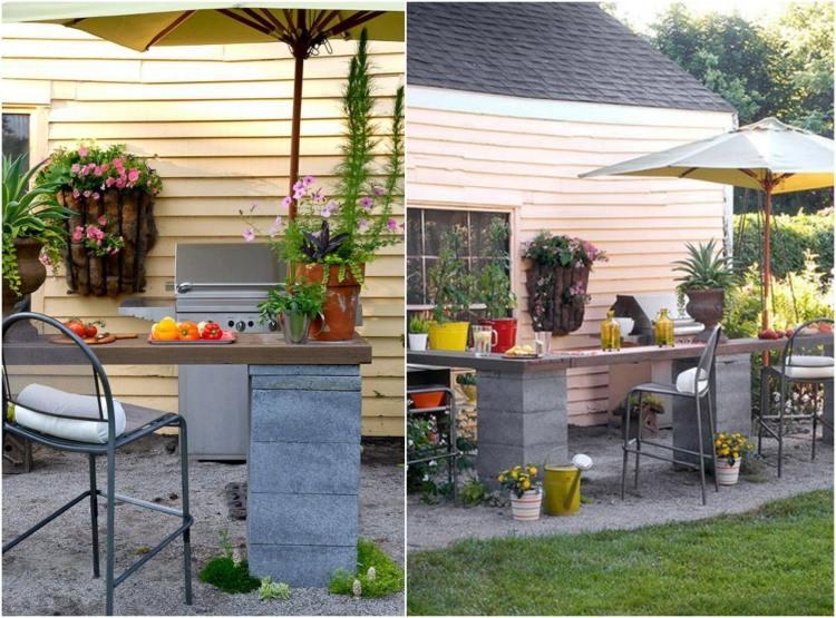 Gartengestaltung Guenstig Idee Outdoor Kueche Theke Schalungssteine