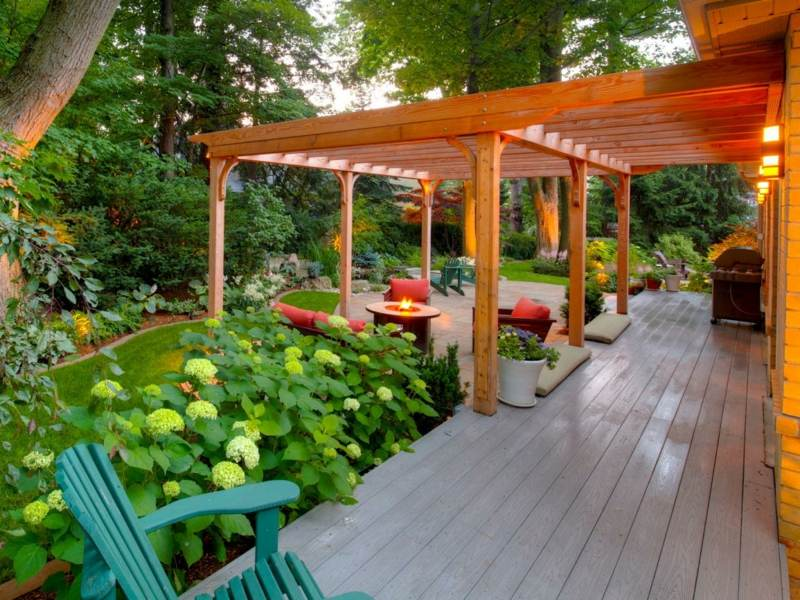 10 x 10 cedar 4 beam pergola mediterranean patio | designmore, Terrassen deko