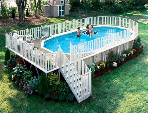 Stahlmantel Treppe Schwimmbecken Pool Im Garten