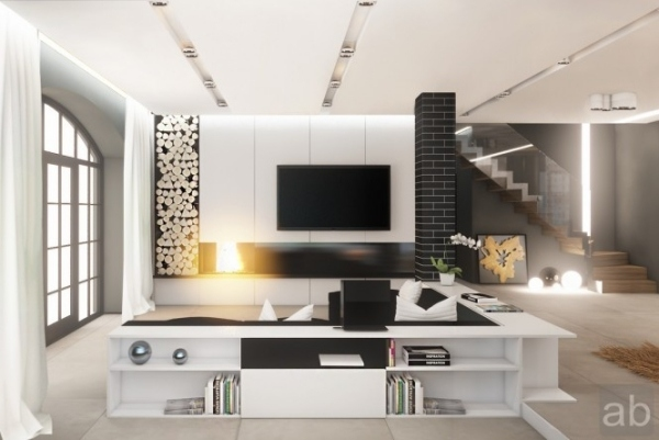 Wohnideen Moderne Wohnzimmer Schwarz Wei Kamin Regale Sofa