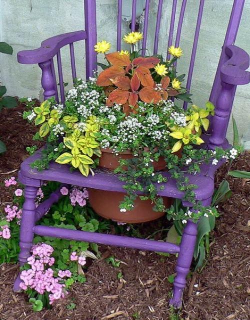 Kreative Garten Dekoration Alte Stühle Als Blumenkübel