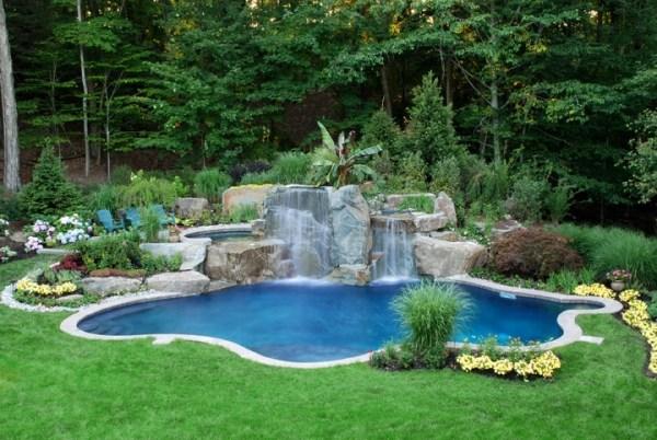 Kleiner Garten Swimmingpool Tropische Pflanzen Den Pool Im