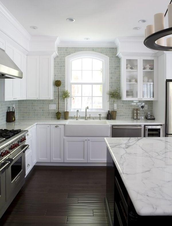 Weiße Küche Welche Arbeitsplatte | 50 Fenstervorhänge ...