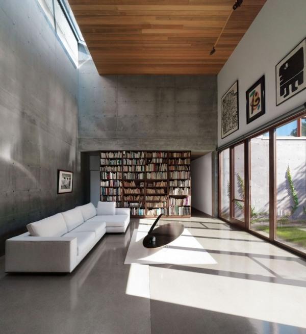 Beton Haus mit HolzAuenverkleidung in Kanadakubistische Architektur