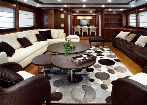 Stilvolle Wohnideen mit Leder Teppich fr Luxus pur Ambiente