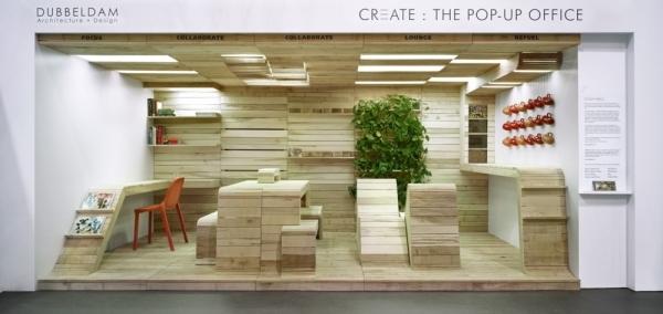 Moduleinheiten aus Holz fr ein modernes dynamisches Bro Design