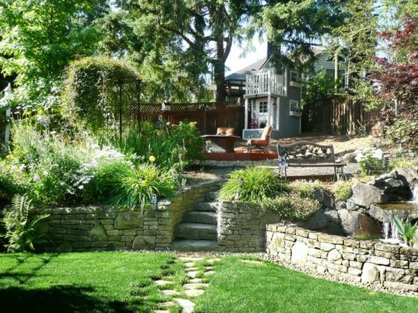 immergrune pflanzen terrassen gestaltung ideen pflanzkubel,