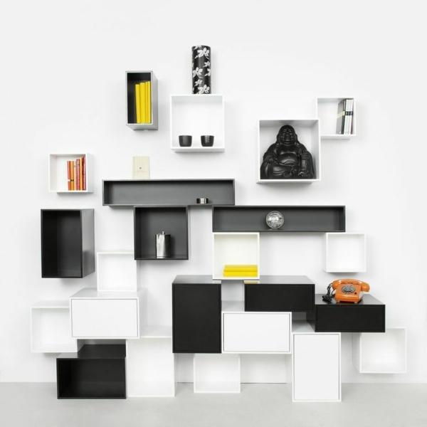 wohnzimmer gestaltungsideen bucher wei schlicht minimalistisch ... - Wohnzimmer Dunkles Holz