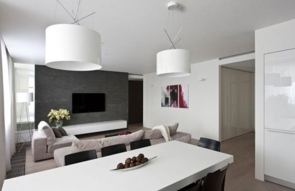 Neutrale Farben prgen eine moderne Wohnung in Moskau