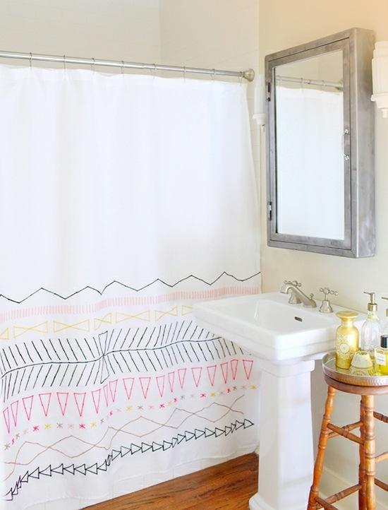 Dusch Vorhang schn dekorieren  originelle Ideen zum Selbermachen