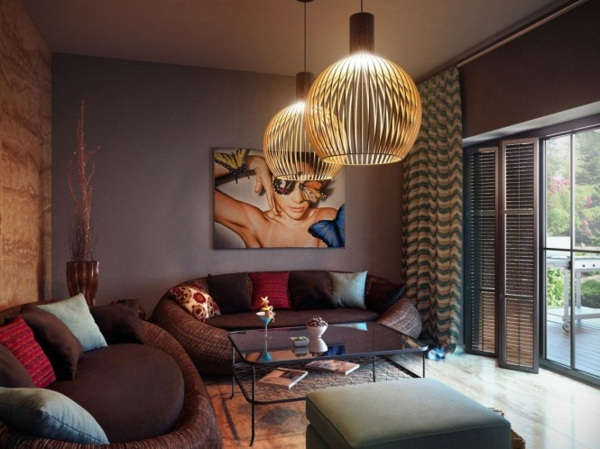 wohnzimmer farbgestaltung sofa grau rot braun blau dekokissen ... - Wohnzimmer Blau Grau Rot
