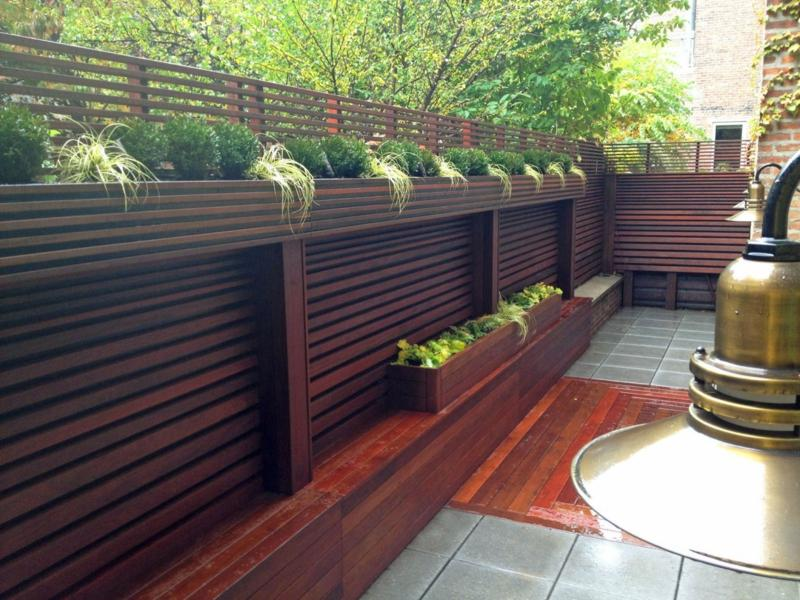 garten sichtschutz aus naturlichen materialien holz bambus pflanzen terrassen 1 25