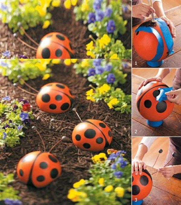 garten deko ideen mit bowlingkuggeln zum selbermachen | moregs, Garten und erstellen