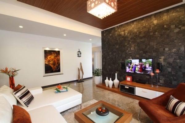 Wohnzimmer Design Wand Wandgestaltung Stein Holzmobel