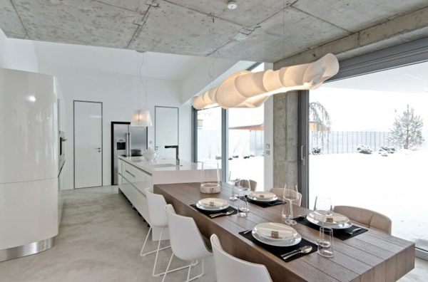 Minimalistische Einrichtungsideen fr weies Esszimmer Design