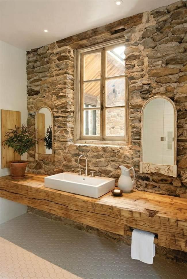 badezimmer holz badewanne steinfliesen rustikale gestlatung idee ... - Badewanne Rustikal