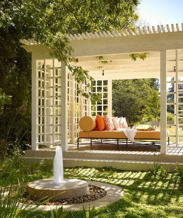 garten pavillon rund metall dach - boisholz, Gartengerate ideen