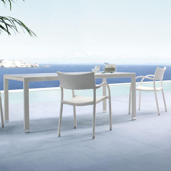 Rattan Terrassenmobel Wei Essbereich Tisch Stuhle
